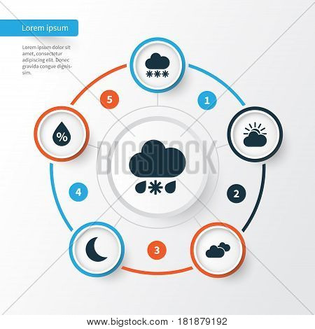 Nature Icons Set. Collection Of Sun-Cloud, Wet, Moisture And Other Elements. Also Includes Symbols Such As Cloud, Sunlight, Humidity.