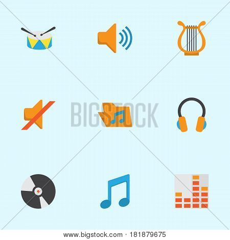 Audio Flat Icons Set. Collection Of Audio, Dj, Controlling And Other Elements. Also Includes Symbols Such As Portfolio, Band, Note.