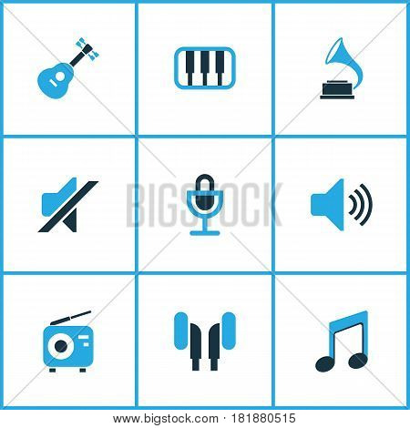 Multimedia Colored Icons Set. Collection Of Radio, Guitar, Microphone And Other Elements. Also Includes Symbols Such As Phonograph, Gramophone, Note.