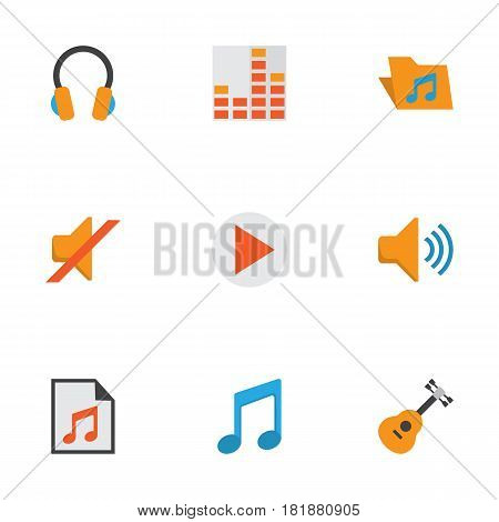 Multimedia Flat Icons Set. Collection Of Audio, Portfolio, Button And Other Elements. Also Includes Symbols Such As Volume, Media, Begin.