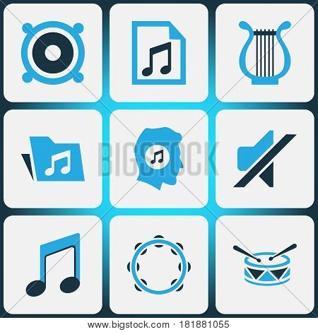 Audio Colored Icons Set. Collection Of Playlist, Note, Harp And Other Elements. Also Includes Symbols Such As Tambourine, Playlist, Drum.