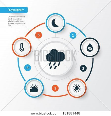 Meteorology Icons Set. Collection Of Moisture, Sun, And Other Elements. Also Includes Symbols Such As Humidity, Temperature, Hate.
