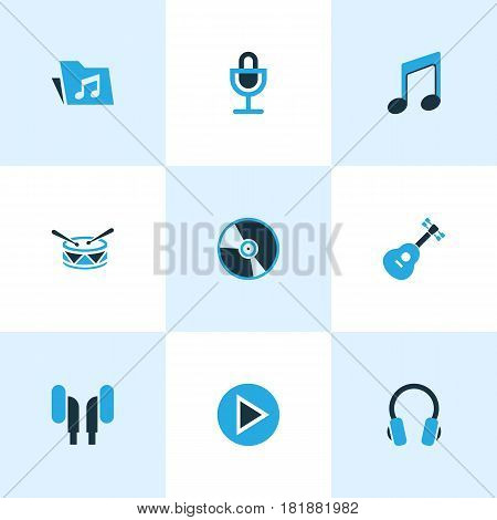 Audio Colored Icons Set. Collection Of Headset, Drum, Microphone And Other Elements. Also Includes Symbols Such As Turntable, Earmuff, Vinyl.
