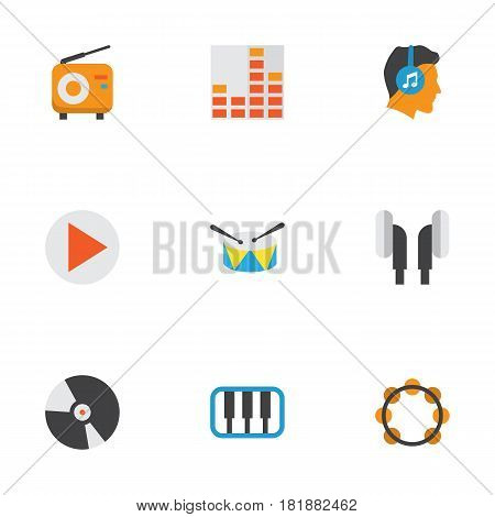Audio Flat Icons Set. Collection Of Controlling, Broadcasting, Earpiece And Other Elements. Also Includes Symbols Such As Play, Dj, Synthesizer.