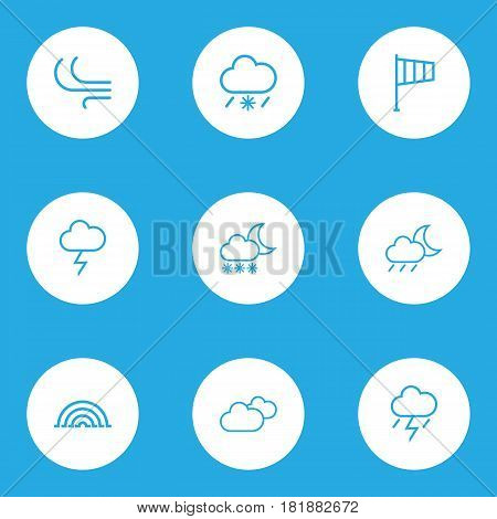Meteorology Outlines Set. Collection Of Rainbow, Lightning, Snowfall And Other Elements. Also Includes Symbols Such As Breeze, Snow, Drizzle.