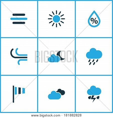 Climate Colored Icons Set. Collection Of Humidity, Thunderstorm, Wind Speed And Other Elements. Also Includes Symbols Such As Humidity, Drizzle, Cloudy.