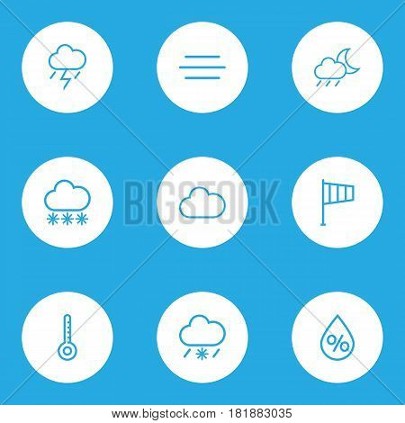 Meteorology Outlines Set. Collection Of Drop, Cloud, Snow And Other Elements. Also Includes Symbols Such As Drop, Wind, Cloudy.