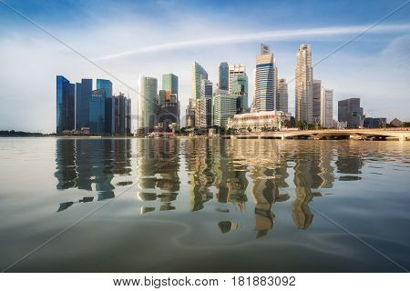 Singapore Skyline At Sunrise At Marina Bay