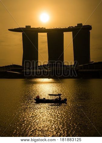 Sunrise At Marina Bay Over Marina Bay Sands Hotel, Singapore