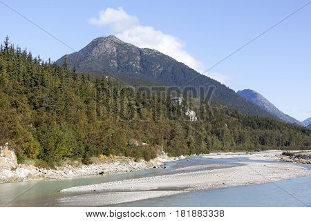 The view of Skagway River and AB Mountain behind in Skagway town (Alaska).
