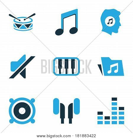 Music Colored Icons Set. Collection Of Speaker, Music Lover, Piano And Other Elements. Also Includes Symbols Such As Instrument, Silent, Note.