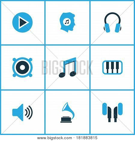 Music Colored Icons Set. Collection Of Volume, Music Lover, Piano And Other Elements. Also Includes Symbols Such As Gramophone, Headphone, Phonograph.