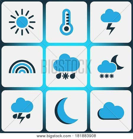 Climate Colored Icons Set. Collection Of Fog, Thunderstorm, Cold Weather And Other Elements. Also Includes Symbols Such As Sunny, Snowfall, Moonlight.