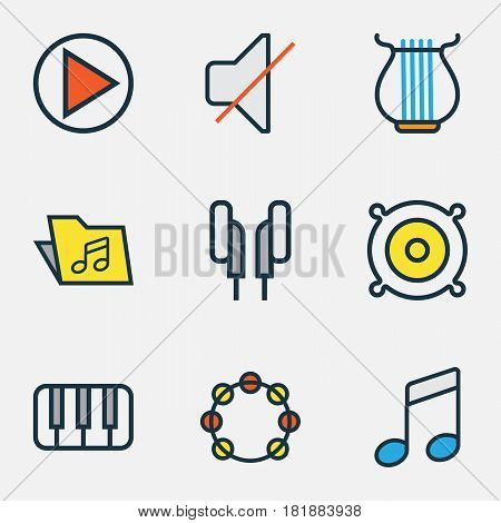 Music Colored Outlines Set. Collection Of Template, Headphones, Sound And Other Elements. Also Includes Symbols Such As Keys, Strings, Off.