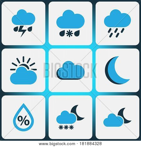 Nature Colored Icons Set. Collection Of Night, Rainstorm, Humidity And Other Elements. Also Includes Symbols Such As Rain, Cold, Drizzle.