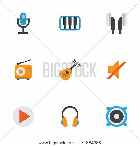 Music Flat Icons Set. Collection Of Earpiece, Broadcasting, Karaoke And Other Elements. Also Includes Symbols Such As Earpiece, Synthesizer, Piano.