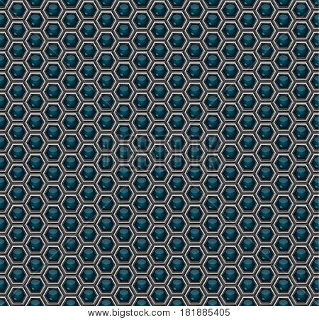 Pattern. Abstract background of three-dimensional hexagons. Geometric grid of futuristic technology Sci-Fi. Wallpapers of metal and glowing honeycombs. 3D