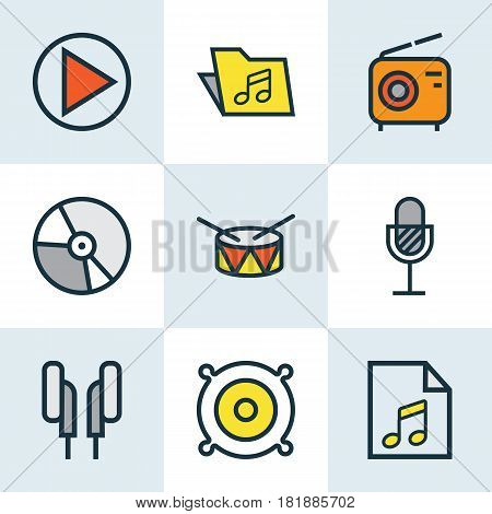 Audio Colored Outlines Set. Collection Of Loudspeakers, Amplifier, Circle And Other Elements. Also Includes Symbols Such As Play, Amplifier, Package.