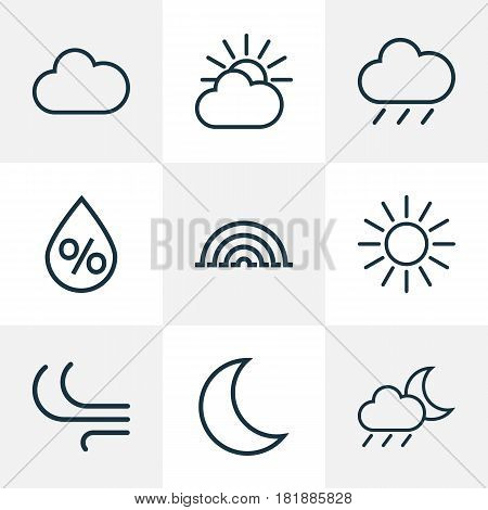 Climate Outlines Set. Collection Of Breeze, Rainstorm, Rain And Other Elements. Also Includes Symbols Such As Drizzle, Humidity, Sun.