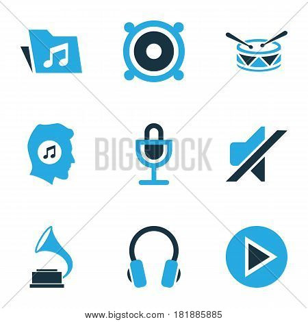 Music Colored Icons Set. Collection Of Mute, Gramophone, Music Lover And Other Elements. Also Includes Symbols Such As Mic, Silent, Earmuff.