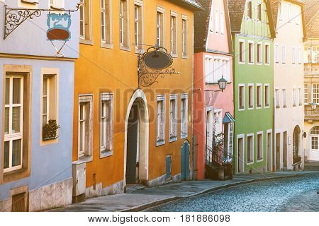 Traditional house in the German style in Rothenburg ob der Tauber. European architecture houses in Bavaria