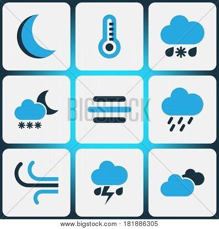 Weather Colored Icons Set. Collection Of Blizzard, Thunderstorm, Thermometer And Other Elements. Also Includes Symbols Such As Breeze, Rainstorm, Storm.