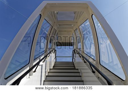 bottom view of passenger stairs on airport,
