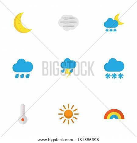 Nature Flat Icons Set. Collection Of Rain, Temperature, Lightning And Other Elements. Also Includes Symbols Such As Temperature, Outbreak, Winter.
