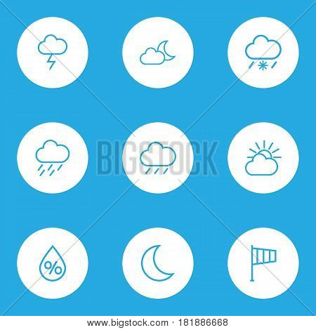 Meteorology Outlines Set. Collection Of Snowy Raining, Drop, Stormy And Other Elements. Also Includes Symbols Such As Moon, Lightning, Rain.