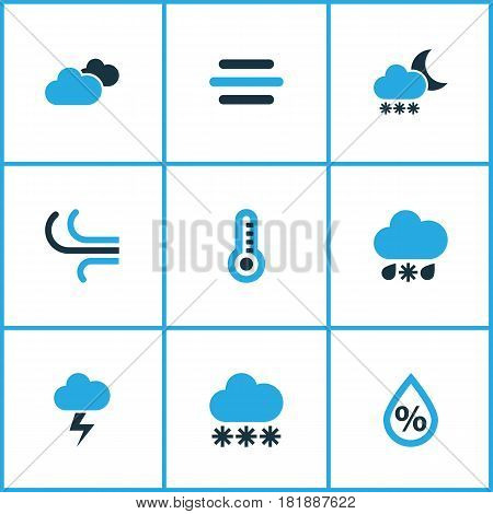 Meteorology Colored Icons Set. Collection Of Cold Weather, Breeze, Thermometer And Other Elements. Also Includes Symbols Such As Thermostat, Breeze, Cold.