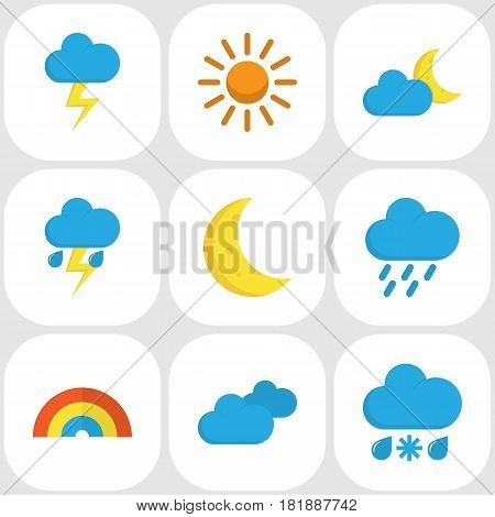 Climate Flat Icons Set. Collection Of Sun, Bow, Drizzles And Other Elements. Also Includes Symbols Such As Demilune, Shower, Hot.