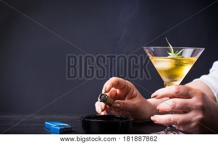 Woman Having A Drink And Smoking
