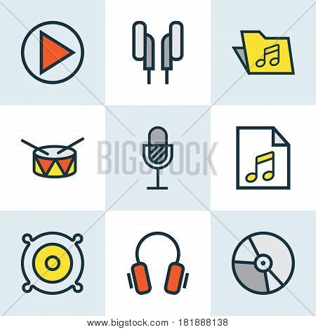 Music Colored Outlines Set. Collection Of List, Circle, Earphones And Other Elements. Also Includes Symbols Such As Barrel, Package, Sound.