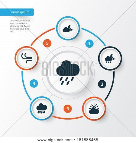 Nature Icons Set. Collection Of Douche, Sun-Cloud, Wet And Other Elements. Also Includes Symbols Such As Breeze, Sun, Night.
