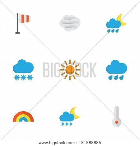 Climate Flat Icons Set. Collection Of Temperature, Banner, Snow And Other Elements. Also Includes Symbols Such As Frost, Winter, Hot.