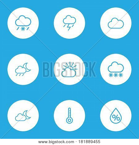 Meteorology Outlines Set. Collection Of Lightning, Snow, Drop And Other Elements. Also Includes Symbols Such As Thunderstorm, Drop, Storm.