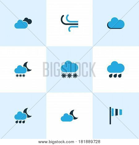 Climate Colored Icons Set. Collection Of Blizzard, Fog, Drizzle And Other Elements. Also Includes Symbols Such As Snowfall, Storm, Moonshine.
