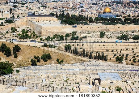 Famous Jewish Cemetery dated 3000 years ago on Mount of Olives with Old Jerusalem on background