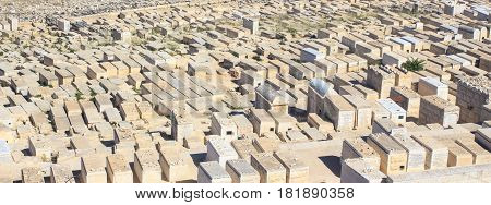 JERUSALEM - APR 15 2014: Part of famous Jewish Cemetery dated 3000 years ago