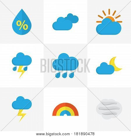 Nature Flat Icons Set. Collection Of Drop, Bow, Rain And Other Elements. Also Includes Symbols Such As Sunny, Clouds, Bow.