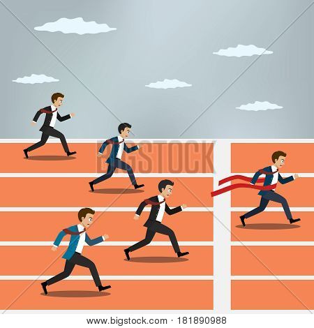 Businessman winning competition and crossing the finish line.