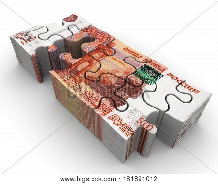Pack of Russian banknotes in the form of a puzzle. A pack of Russian banknotes in the form of an unassembled puzzle on white surface. Isolated. 3D Illustration