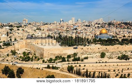 Panoramic view to Jerusalem Old City and the Temple Mount Dome of the Rock and Al Aqsa Mosque from the Mount of Olives in Jerusalem Israel