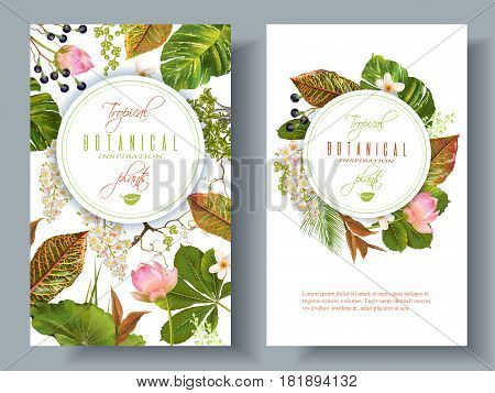 Vector tropical plants vertical banners on white background. Exotic floral design for cosmetics, perfume, health care products, aromatherapy. Can be used as wedding invitation. With place for text.