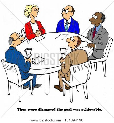 Business cartoon about four business men dismayed their coworker was able to achieve the goal.