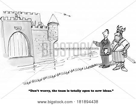 Business cartoon about team members shooting arrows at the team leader with new ideas.