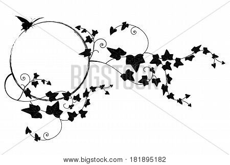 vector frame with butterfliy and ivy in black and white
