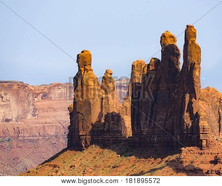The Totem Pole Butte Is A Giant Sandstone Formation In The Monument Valley