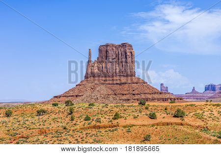 WEst Mittens Butte is a giant sandstone formation in the Monument valley poster