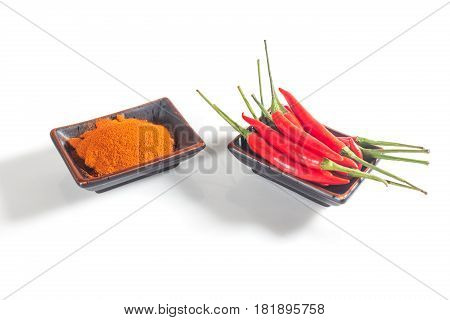 Spices pepper chilli fresh and dry isolated on white background